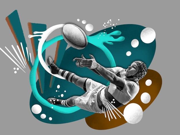コミックスタイルのカラフルなアート画を持つ若い男性のラグビー選手