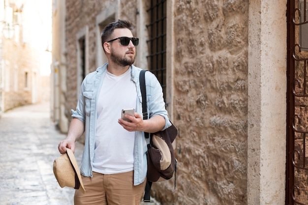 Young male tourist in montenegro