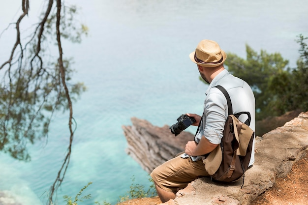 Young male traveler in montenegro