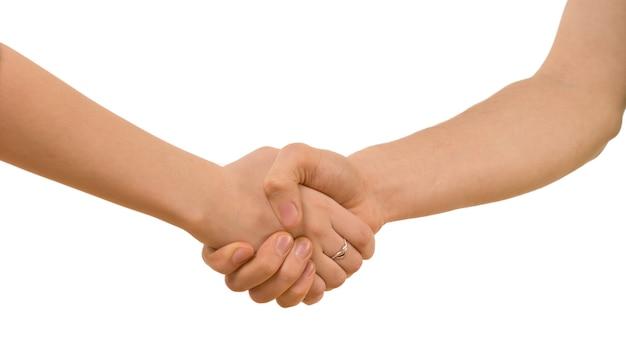 握手する若い男女