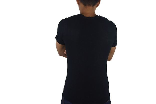 Young man in blank black tshirt back isolated on white space mock up template for design print