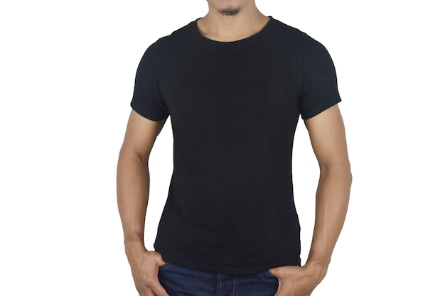 Young man in blank black tshirt front isolated on white space mock up template for design print