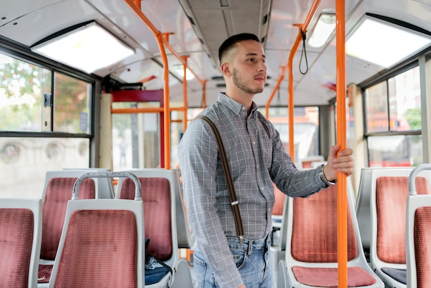 Young man in the bus