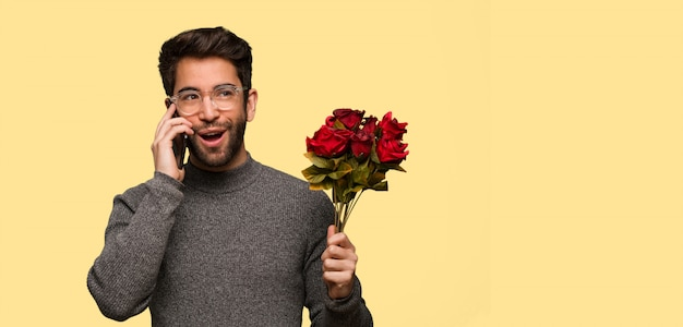 Young man celebrating valentines day