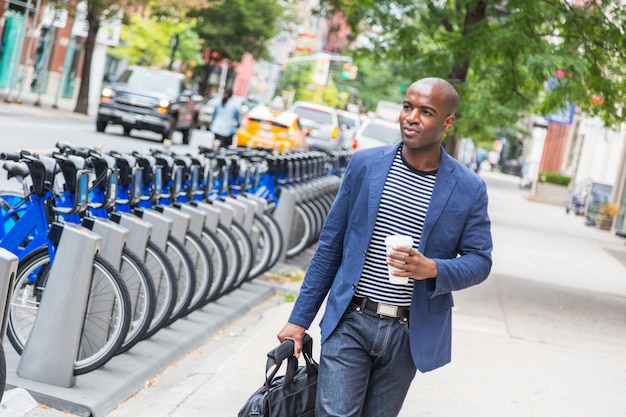 Young man commuting in new york