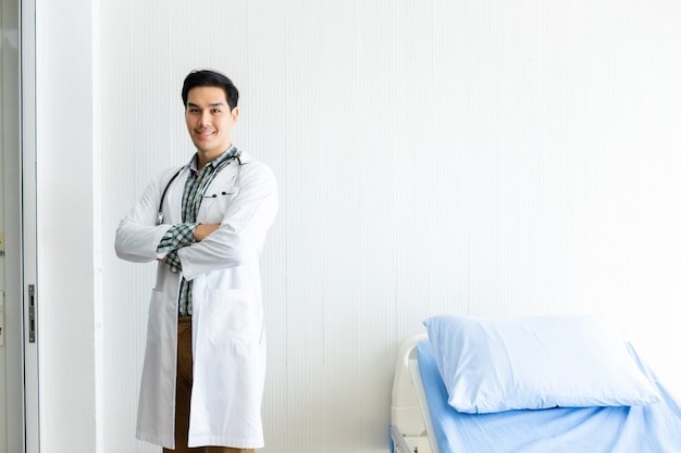 Young man doctor advising with positive emotions