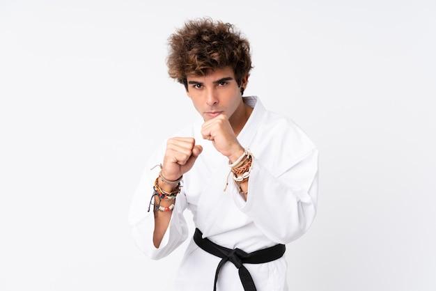 Young man doing karate