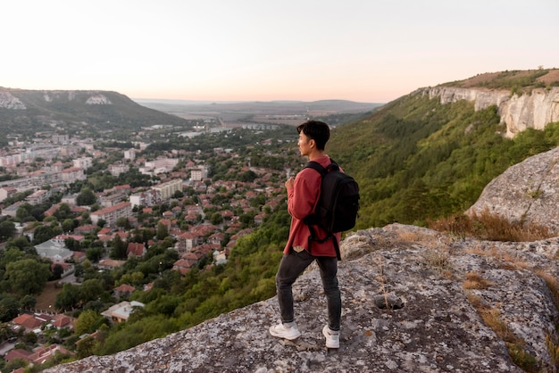 Young man enjoying landscape
