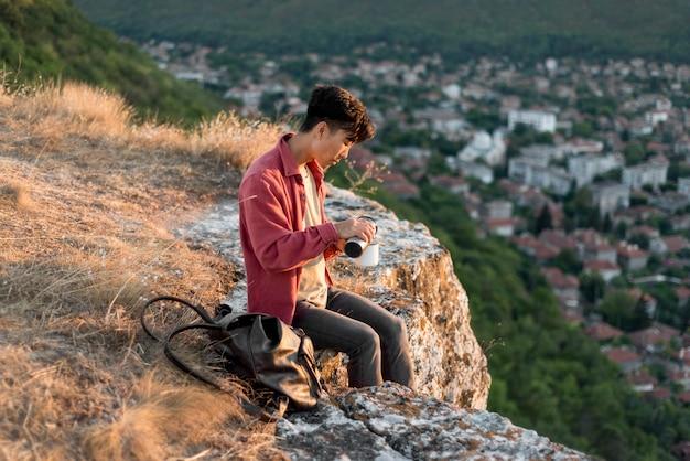 Young man enjoying the landscape