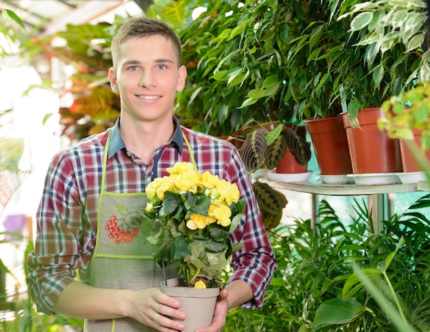 Young man florist that cares for flowers in greenhouse.