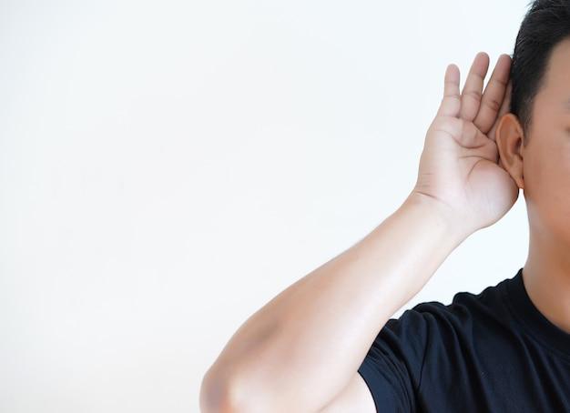 Young man hearing loss  sound waves simulation technology