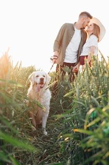 젊은 남자는 래브라도와 함께 자연 속에서 저녁 산책을 하는 동안 임신한 아내에게 키스할 것입니다. 임산부 . 가족과 임신. 사랑과 부드러움. 행복과 평온.