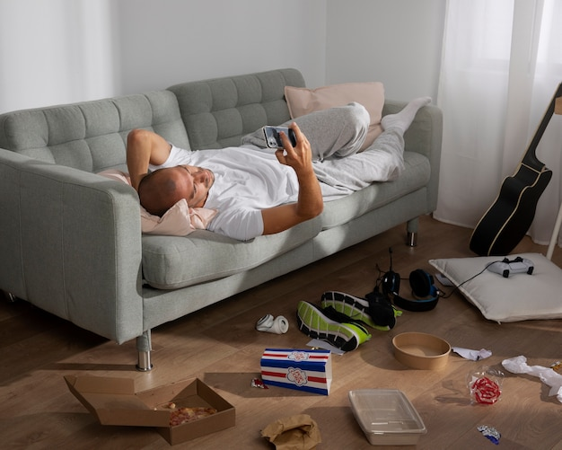 Young man in  isolation at home