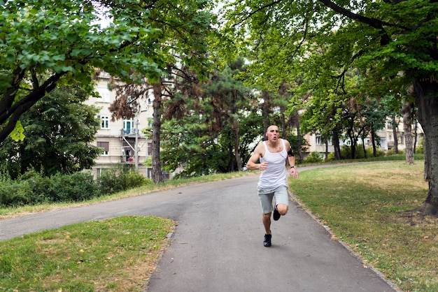 Young man jogging in the park.healthy lifestyle.