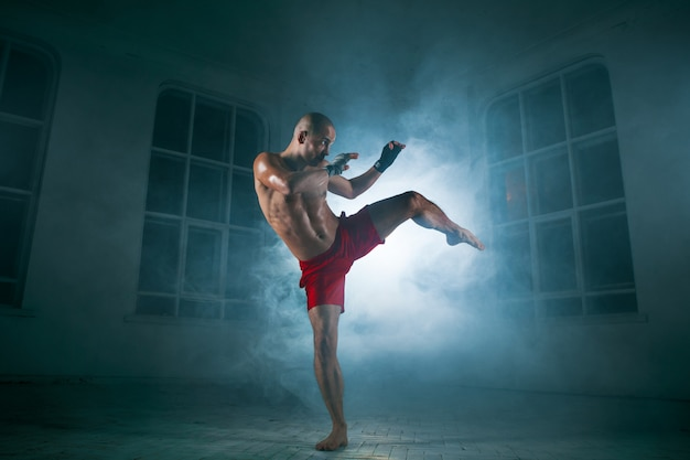 Young man kickboxing in blue smoke