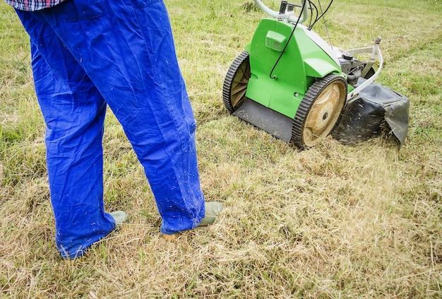 芝刈り機で芝生を刈る青年