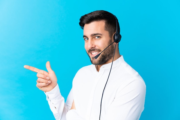 Young man operator with headset