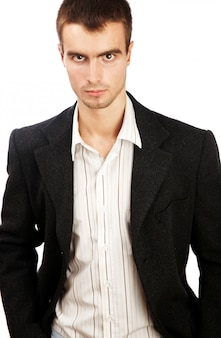 Young man posing in elegant suit