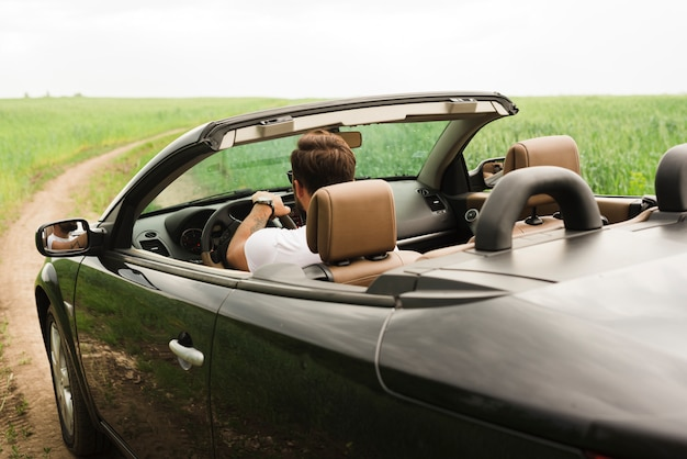 Young man on a road trip