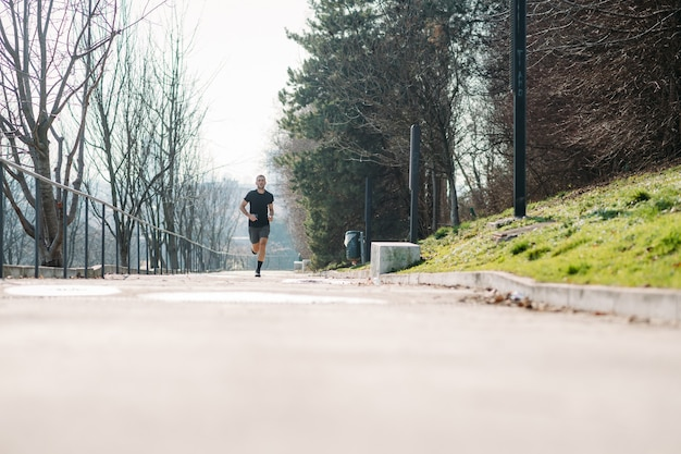 Young man running outdoor training