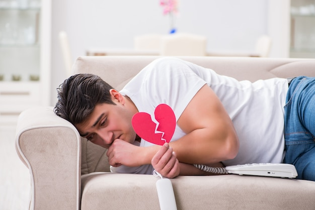 Young man in sad saint valentine concept