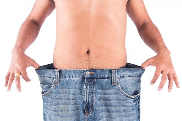 Young man show body after weight loss