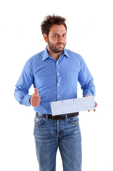 Young man showing the italian money order