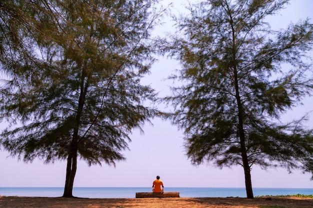 Молодой человек сидит на дереве под большими соснами у тропического моря.