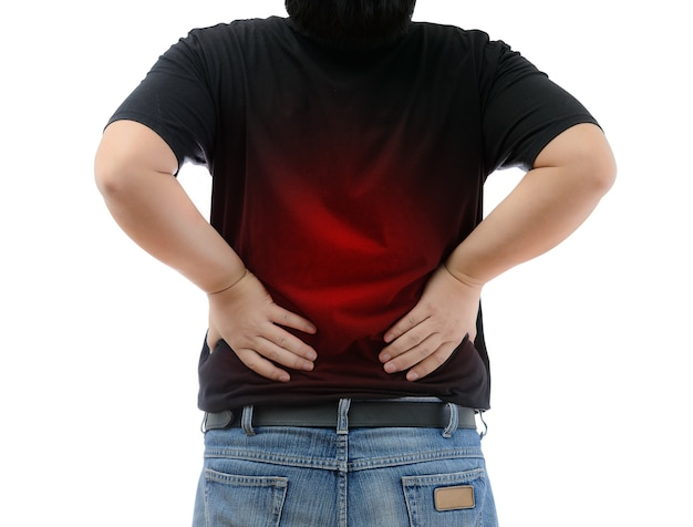 Young man suffering from strong backache