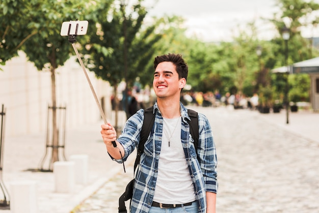 Young man traveling around the world