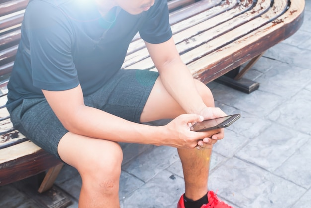 Young man using mobile smart phone, lifestyle concept