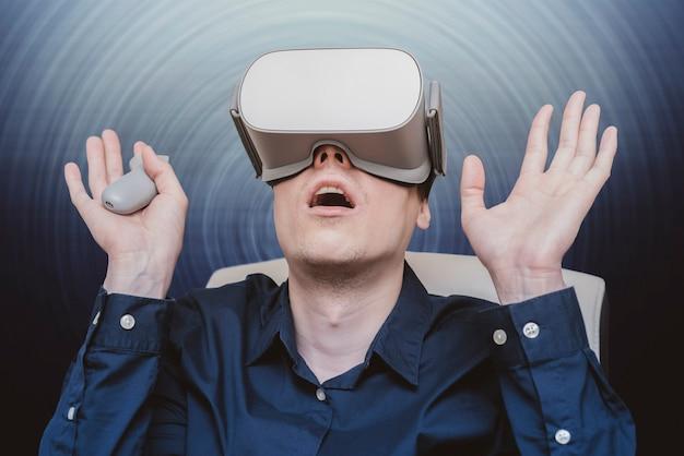 Young man of virtual reality.