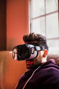 Young man in vr goggles