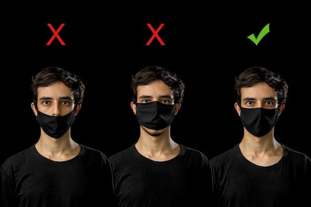 黒のフェイスマスクを身に着けている若い男。