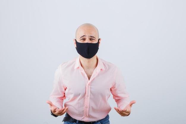 Young man wearing a protective face mask