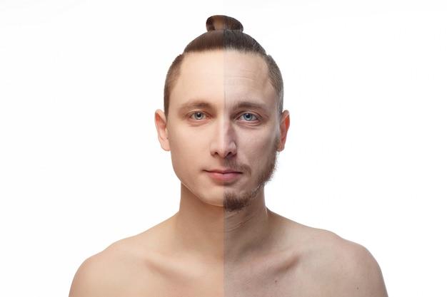 그의 얼굴의 절반에 수염을 가진 젊은이