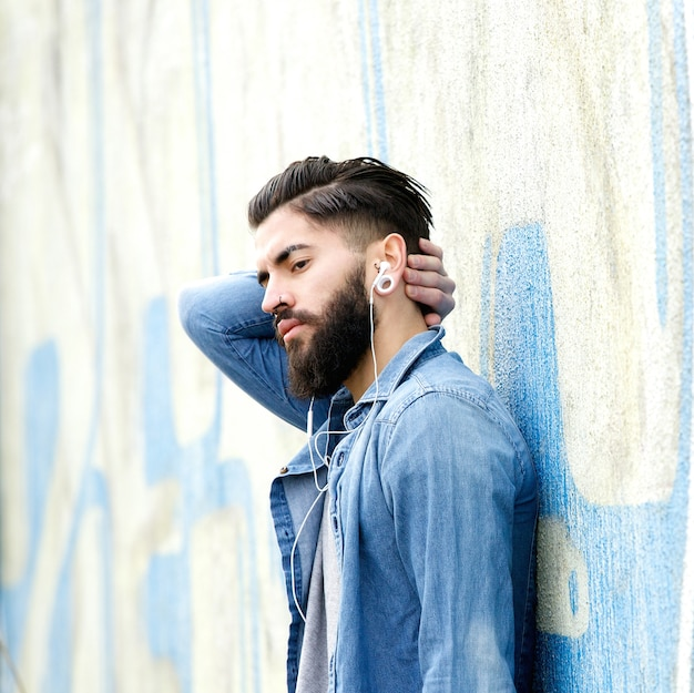 Young man with beard relaxing