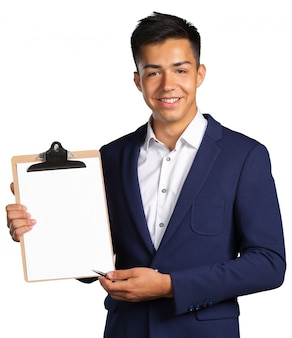 Young man with blank clipboard