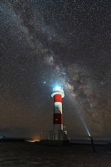 A young man with a flashlight at the fuencaliente lighthouse with the milky way on the route of the volcanoes south of the island of la palma, canary islands, spain