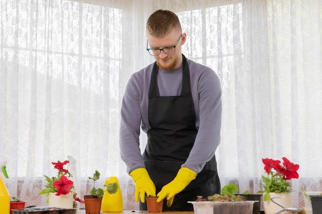 Молодой человек в очках и фартуке сажает саженцы в горшки в загородном доме