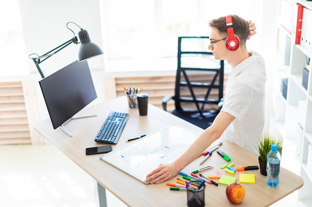 A young man with glasses and headphones stands near a computer desk and scratches his head. before him lies a magnetic board and markers.