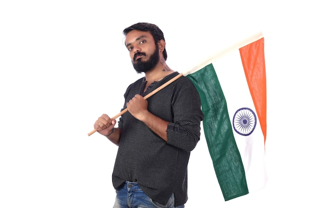 Young man with indian flag or tricolour on white, indian independence day