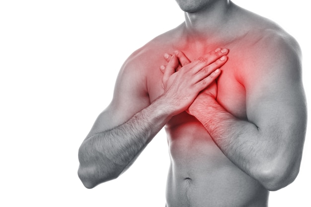 Young man with pain in his chest