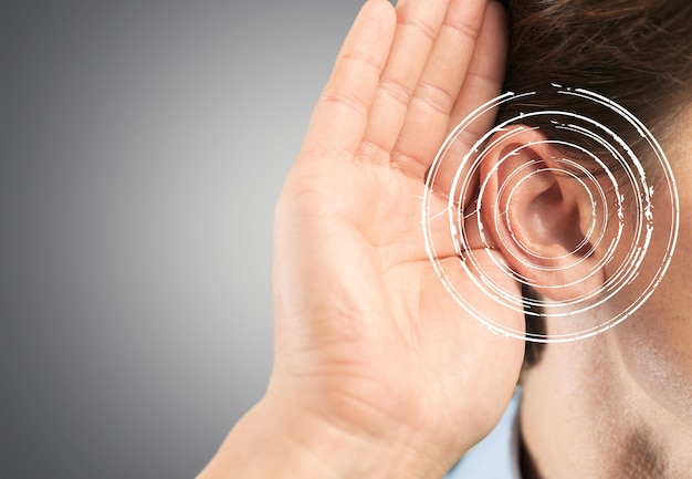 Young man with symptom of hearing loss