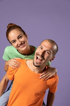 Young man and woman best friends portrait