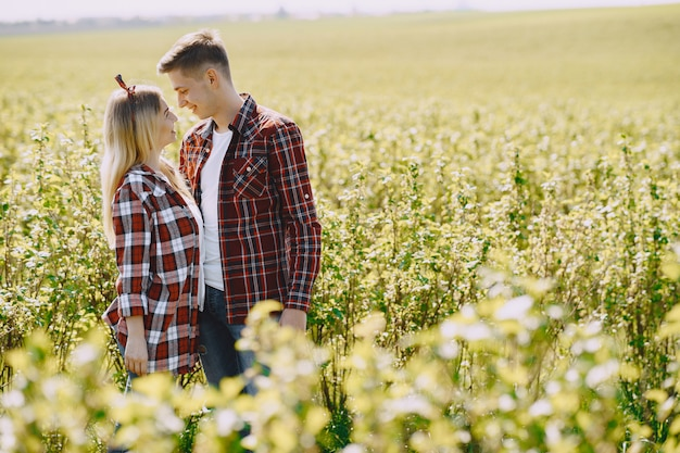 Young man and woman couple in a summer field