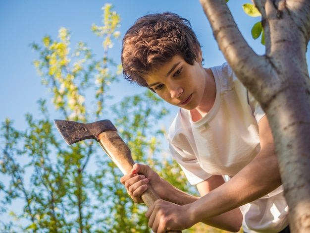 Young man working in the garden with axe near the tree