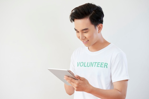 Young man working online