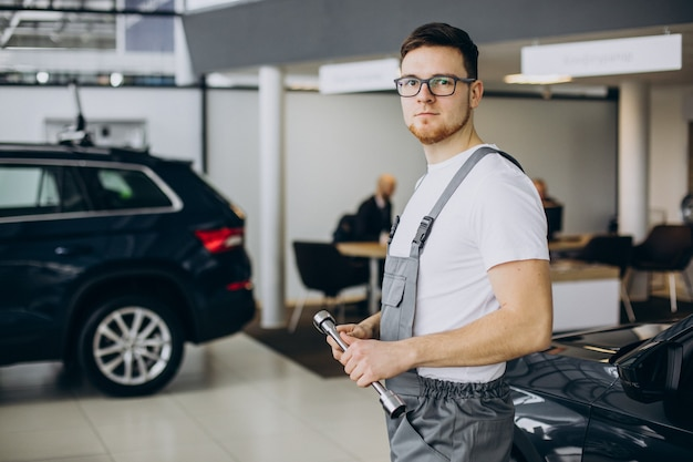 Young mechanic with documents in car service