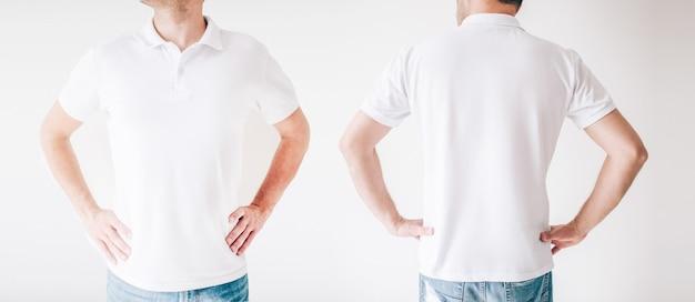 흰 벽 위에 고립 된 젊은 남자. 두 장의 사진이 하나로 결합되었습니다. 엉덩이에 손을 잡고 흰 셔츠에 같은 남성 사람의 전면 및 후면 모습.